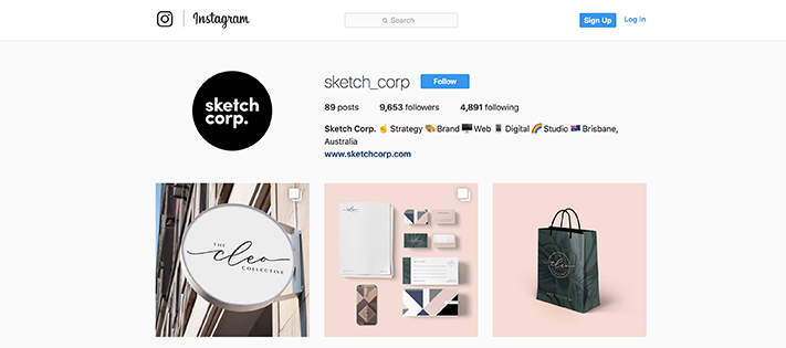 Sketch Corp design instagram account