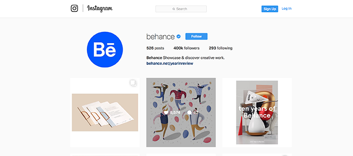 Behance design instagram account