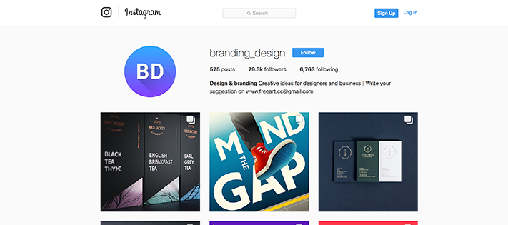 Branding design instagram account