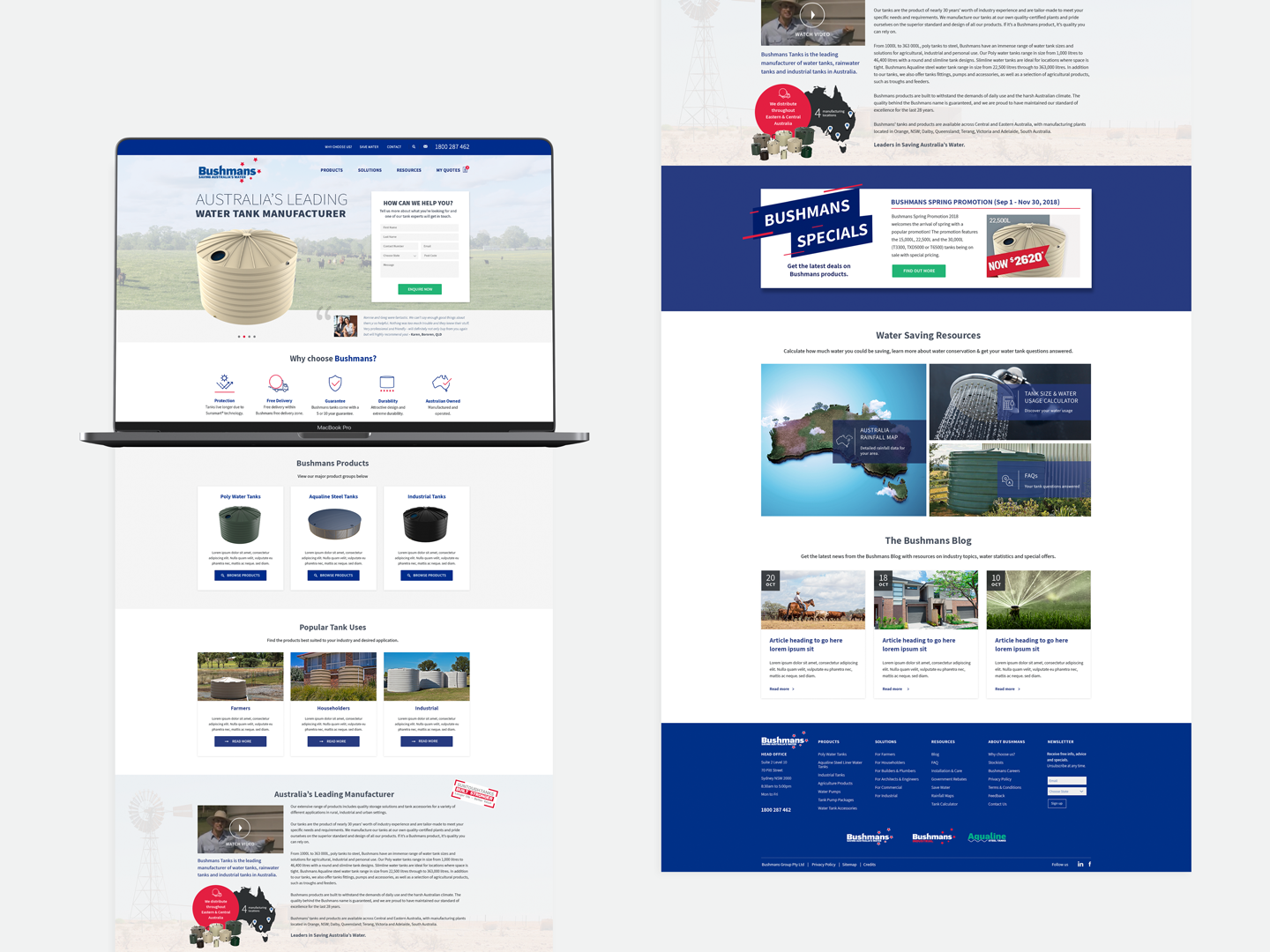 Website Design for Bushman Tanks Water Tanks by Sketch Corp.