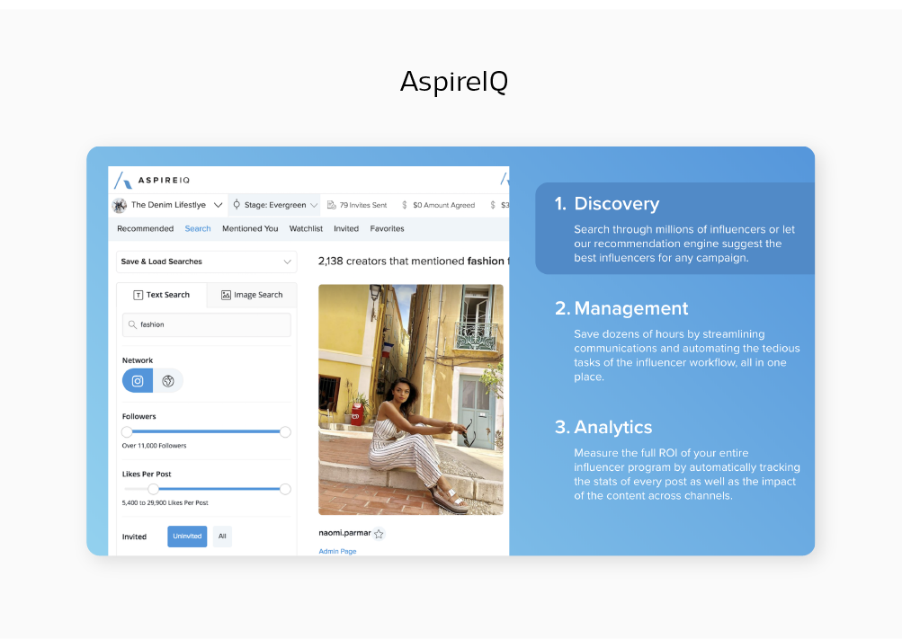 social media influencer marketing management tool AspireIQ blog post by Sketch Corp.