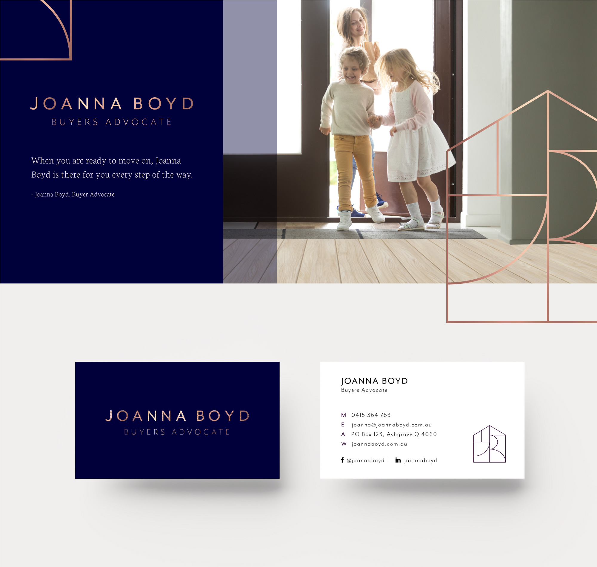 Branding strategy and brand visual identity project for Joanna Boyd Buyers Advocate by Sketch Corp.