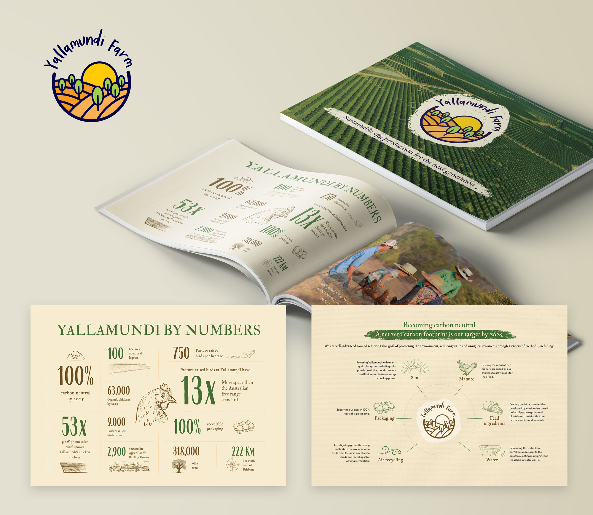 Brand strategy and packaging design project for Yallamundi Farms by Sketch Corp.